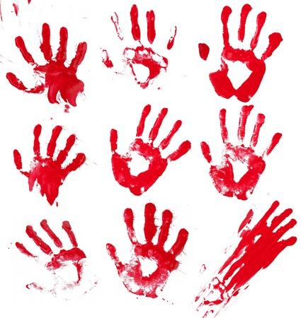 sangre derramada: Un compuesto de 9 de la mano ensangrentada impresiones aisladas en blanco
