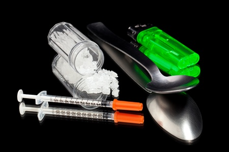 meth: Various items used in combination with injecting methamphetamine