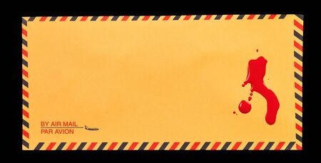 bloodstains: A yellow air mail envelope with a some blood stains on it
