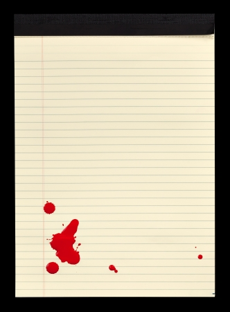 bloodstains: A sheet of lined yellow notepad paper with red blood stains  paint  on it  Stock Photo
