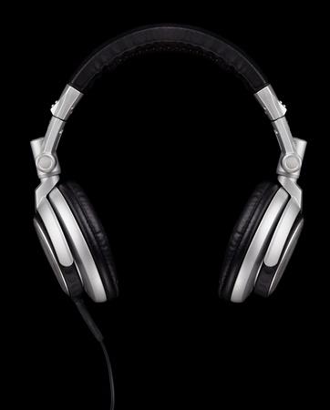 audifonos: Un par de auriculares de estilo DJ aislado en negro Foto de archivo