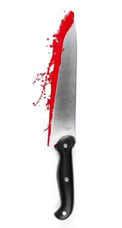 bloodstains: A blood covered knife isolated on white  Stock Photo