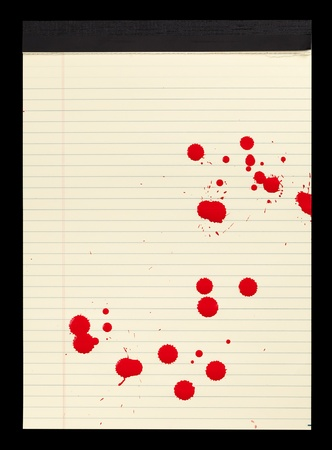 A sheet of lined yellow notepad paper with red blood stains  paint  on it  Stock Photo