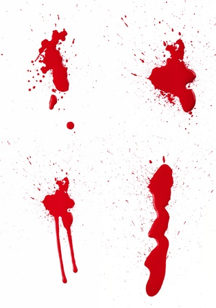 stain: A composite of 4 wet red paint (blood) stains isolated on white. Stock Photo