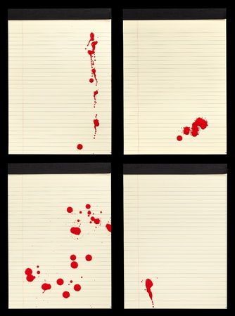 ink spot: A collection of four sheets of lined yellow notepad paper with red blood stains (paint) on them. Stock Photo