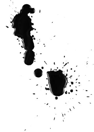 ink stain: Black ink spatter on white paper