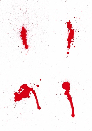 spot: A composite of 4 wet red paint  blood  stains isolated on white