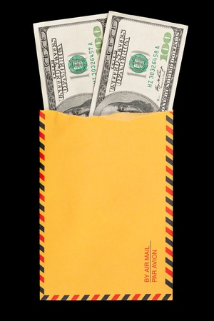 Two 100 dollar bills coming out of a ripped yellow envelope  photo