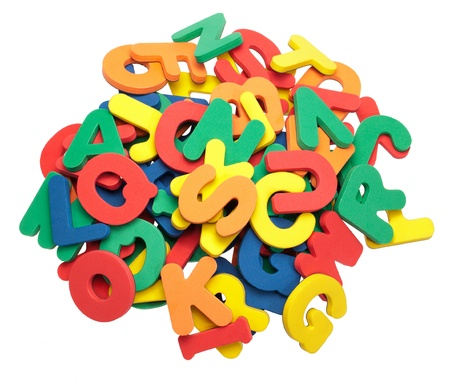 A pile of colorful foam letters. Stock Photo