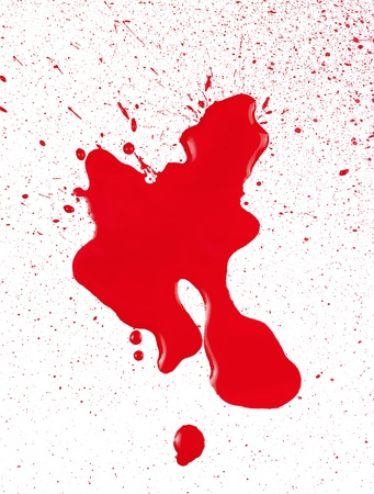 bloodstain: Blood spatter on white paper.