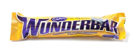 Toronto, Canada - May 8, 2012: This is a studio shot of Wunderbar candy made by Cadbury isolated on a white background.