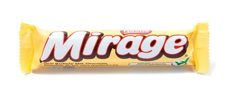 a mirage: Toronto, Canada - May 8, 2012: This is a studio shot of Mirage bubbly milk chocolate made by Nestle isolated on a white background. Editorial