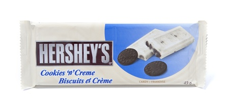 hershey's: Toronto, Canada - May 8, 2012: This is a studio shot of Hersheys Cookies n Creme candy made by Hersheys isolated on a white background. Editorial