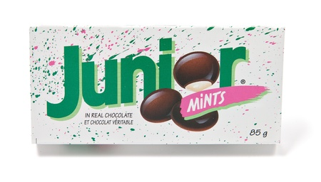 chocolate mint: Toronto, Canada - May 8, 2012: This is a studio shot of a box of Junior Mints made by Tootsie Roll Industries isolated on a white background. Editorial