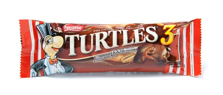nestle: Toronto, Canada - May 8, 2012: This is a studio shot of Turtles candy made by Nestle isolated on a white background.