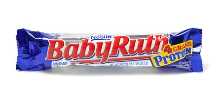 nestle: Toronto, Canada - May 8, 2012: This is a studio shot of Baby Ruth candy made by Nestle isolated on a white background. Editorial