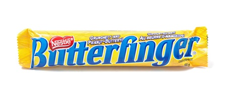 Toronto, Canada - May 8, 2012: This is a studio shot of Butterfinger candy made by Nestle isolated on a white background.