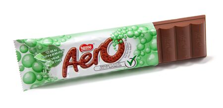 chocolate mint: Toronto, Canada - May 10, 2012: This is a studio shot of Aero peppermint chocolate candy made by Nestle isolated on a white background.