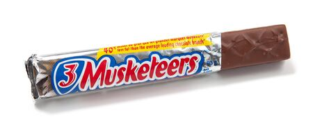 Toronto, Canada - May 10, 2012: This is a studio shot of 3 Musketeers candy made by Mars, Incorporated isolated on a white background. Stock Photo - 14443992