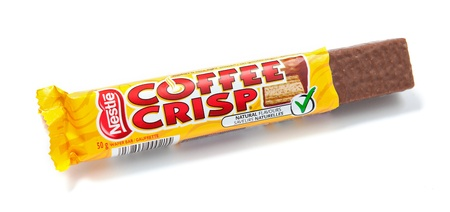 Toronto, Canada - May 10, 2012: This is a studio shot of Coffee Crisp wafer bar made by Nestle isolated on a white background.