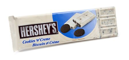 hersheys: Toronto, Canada - May 10, 2012: This is a studio shot of Hersheys Cookies n Creme candy made by Hersheys isolated on a white background.