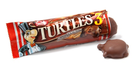 Toronto, Canada - May 10, 2012: This is a studio shot of Turtles candy made by Nestle isolated on a white background.