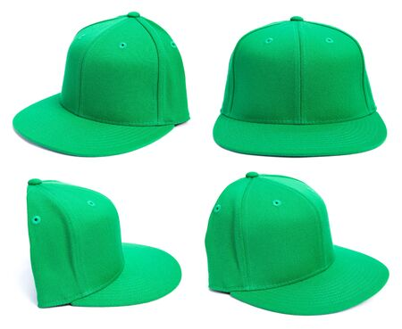 baseball cap: Four shots of a fitted grey hat from different angles isolated on a white background. Stock Photo