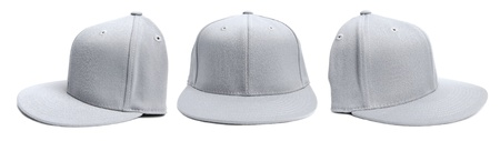 baseball cap: Three shots of a fitted grey hat from different angles isolated on a white background.