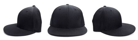 baseball cap: Three shots of a fitted black hat from different angles isolated on a white background. Stock Photo