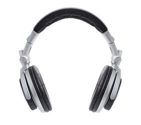 A front view of a stylish pair of silver headphones floating in the air isolated on white. photo