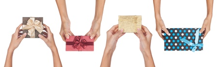 back and forth: Four gifts being given back and forth isolated on a white background.