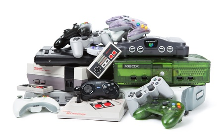 microsoft: Taipei, Taiwan - November 13, 2012: This is a studio shot of various game systems and controllers isolated on a white background. Editorial
