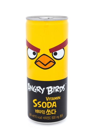 Taipei, Taiwan - January 8, 2012: This is a studio shot of a can of Angry Birds Vitamin beverage made by the Korean company Paldo isolated on white. Stock Photo - 17465214