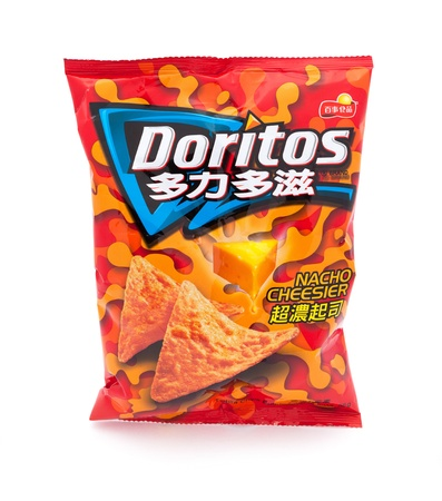 corn chip: Taipei, Taiwan - January 8, 2012: This is a studio shot of a traditional Chinese branded bag of Doritos Nacho Cheesier tortilla chips made Frito-Lay isolated on white. Editorial