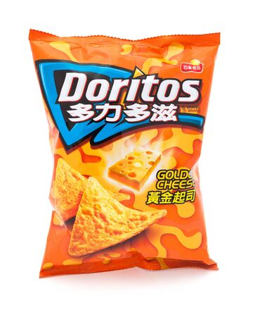 corn chip: Taipei, Taiwan - January 8, 2012: This is a studio shot of a traditional Chinese branded bag of Doritos Golden Cheese tortilla chips made Frito-Lay isolated on white.
