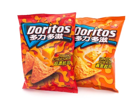 branded: Taipei, Taiwan - January 8, 2012: This is a studio shot of two  traditional Chinese branded bags of Doritos tortilla chips made Frito-Lay isolated on white.