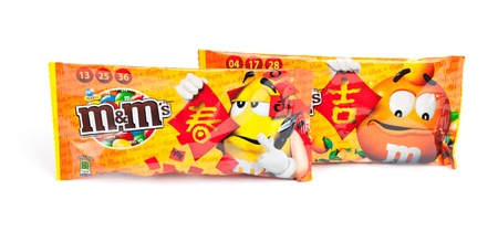 Taipei, Taiwan - January 17, 2013: This is a studio shot of two packages of M&M Stock Photo - 17465225