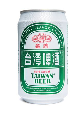 Taipei, Taiwan - December 17, 2012: This is a studio shot of a can of Gold Medal Taiwan Beer made by the Taiwan Tobacco and Liquor corporation isolated on white. Stock Photo - 17465231