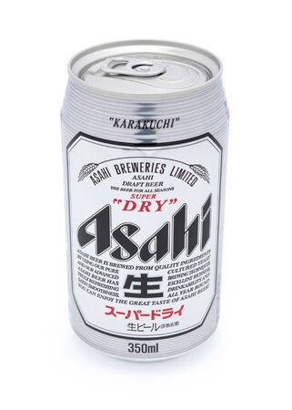 Taipei, Taiwan - January 8, 2012: This is a studio shot of a can of Asahi Super Dry made by Asahi Breweries Ltd isolated on white. Stock Photo - 17465219