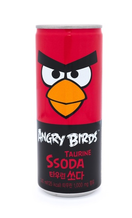 Taipei, Taiwan - January 8, 2012: This is a studio shot of a can of Angry Birds Taurine beverage made by the Korean company Paldo isolated on white. Stock Photo - 17465220