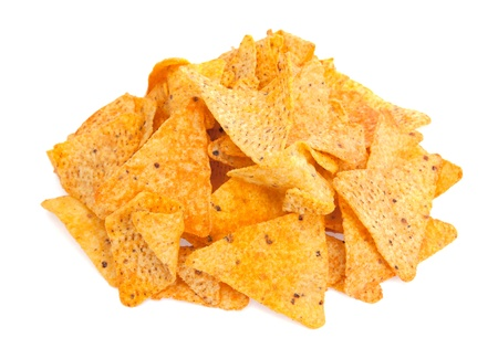 corn tortilla: A pile of cheese covered tortilla chips isolated on a white background