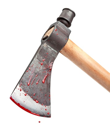 A close-up of a bloody axe blade in a swinging position isolated on white Stock Photo - 17473666