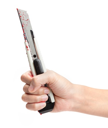 boxcutter: A hand holding a blood covered boxcutter isolated on a white background