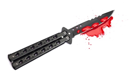 butterfly knife: A blood covered butterfly knife and pool of blood isolated on a white background.