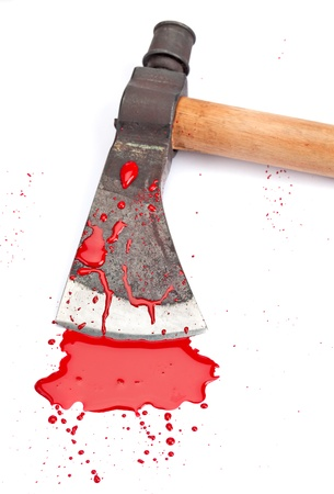 A close-up of a bloody axe and small pool of blood (red paint) isolated on white.