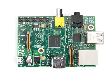 Taipei, Taiwan - January 10, 2013: This is a studio shot of a Raspberry Pi circuit board isolated on white. Editorial