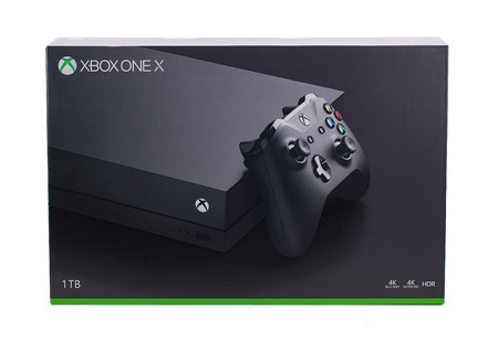 Taipei, Taiwan - December 8, 2018: A studio shot of the retail packaging for Microsoft's XBOX One X gaming system. Stock Photo - 115643974