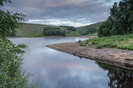 The reservoir at Goyt valley within the Peak District National park.