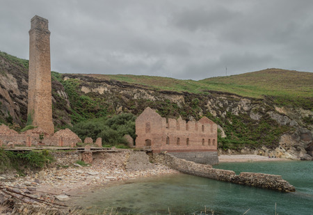 The ruins of the brickwork factory at Porth Wen, Llanbadrig, Anglesey.