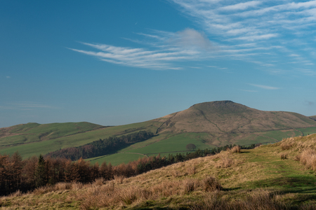 View to a distant Shutlingsloe hill in Cheshire, Peak District National Park.